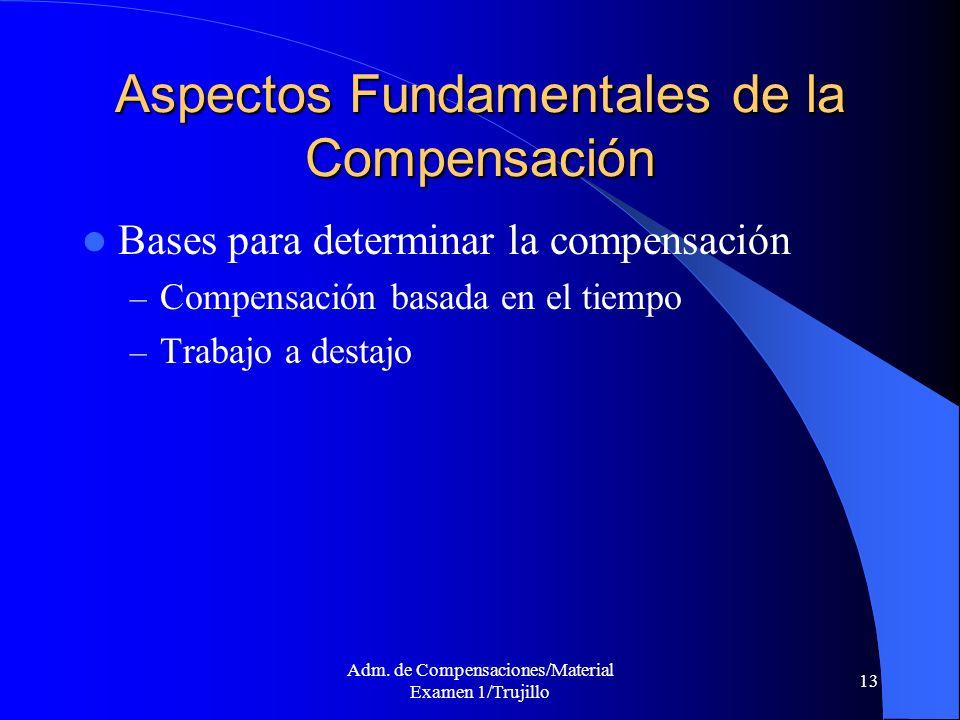 Adm. de Compensaciones/Material Examen 1/Trujillo 13 Aspectos Fundamentales de la Compensación Bases para determinar la compensación – Compensación ba