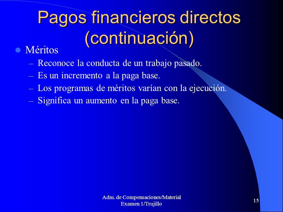 Adm. de Compensaciones/Material Examen 1/Trujillo 15 Pagos financieros directos (continuación) Méritos – Reconoce la conducta de un trabajo pasado. –