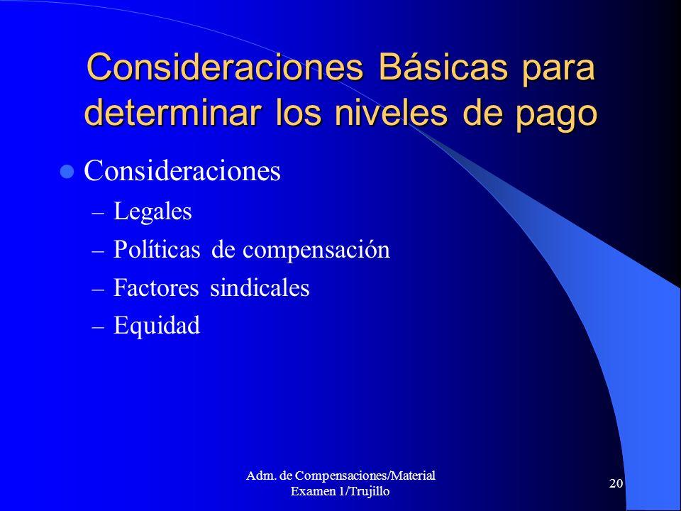 Adm. de Compensaciones/Material Examen 1/Trujillo 20 Consideraciones Básicas para determinar los niveles de pago Consideraciones – Legales – Políticas