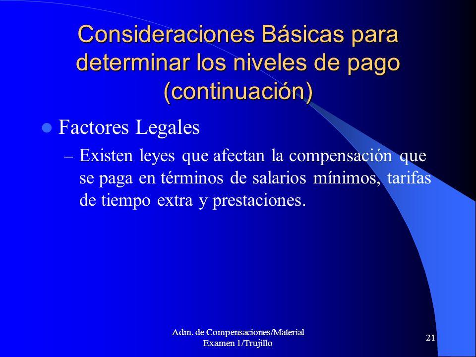 Adm. de Compensaciones/Material Examen 1/Trujillo 21 Consideraciones Básicas para determinar los niveles de pago (continuación) Factores Legales – Exi
