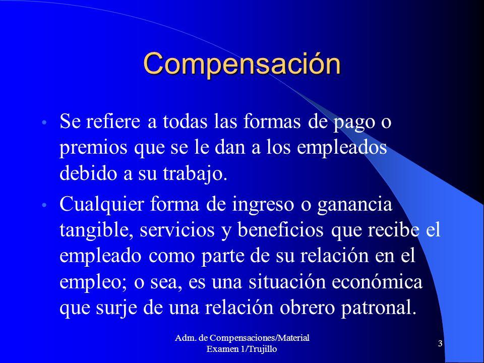 Adm. de Compensaciones/Material Examen 1/Trujillo 3 Compensación Se refiere a todas las formas de pago o premios que se le dan a los empleados debido