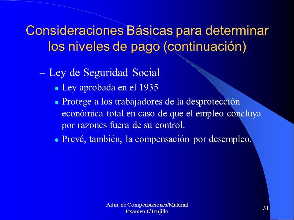 Adm. de Compensaciones/Material Examen 1/Trujillo 31 Consideraciones Básicas para determinar los niveles de pago (continuación) – Ley de Seguridad Soc