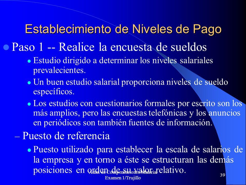 Adm. de Compensaciones/Material Examen 1/Trujillo 39 Establecimiento de Niveles de Pago Paso 1 -- Realice la encuesta de sueldos Estudio dirigido a de