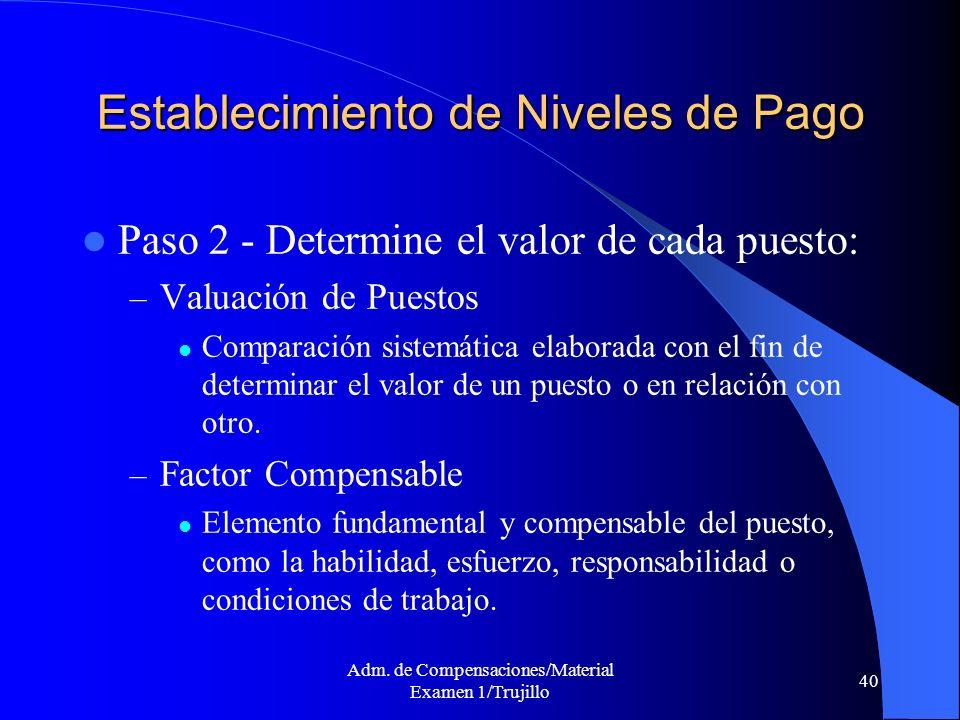 Adm. de Compensaciones/Material Examen 1/Trujillo 40 Establecimiento de Niveles de Pago Paso 2 - Determine el valor de cada puesto: – Valuación de Pue
