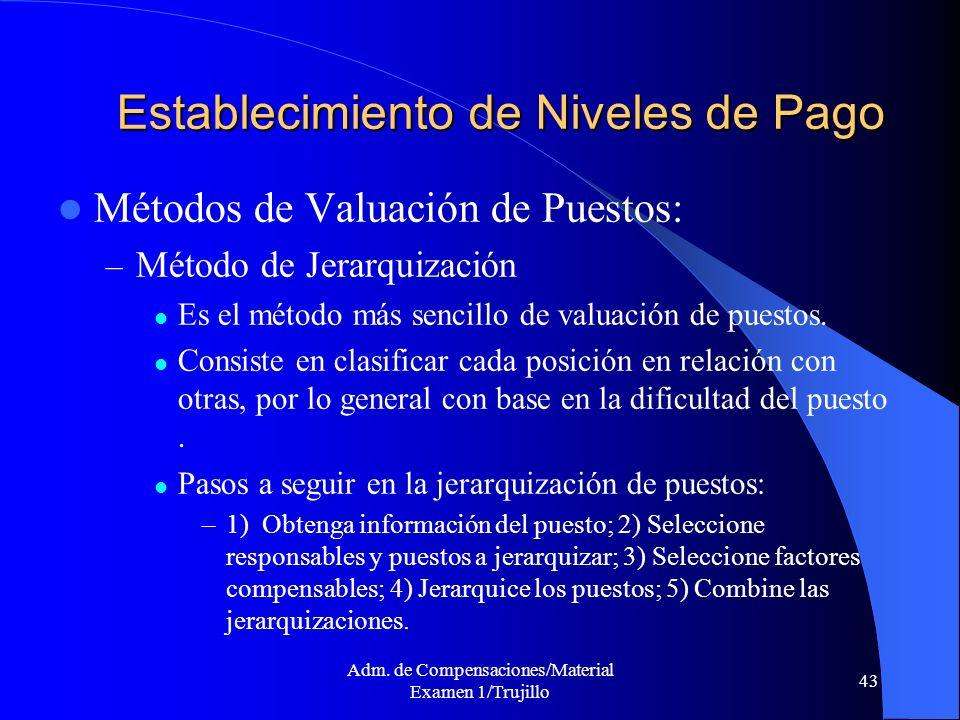 Adm. de Compensaciones/Material Examen 1/Trujillo 43 Establecimiento de Niveles de Pago Métodos de Valuación de Puestos: – Método de Jerarquización Es