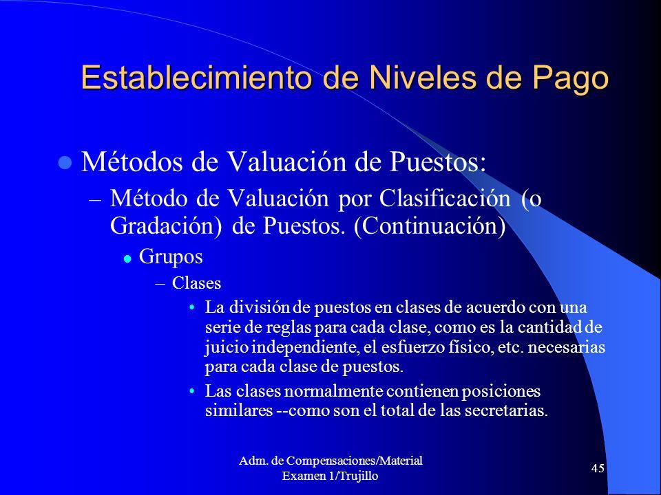 Adm. de Compensaciones/Material Examen 1/Trujillo 45 Establecimiento de Niveles de Pago Métodos de Valuación de Puestos: – Método de Valuación por Cla