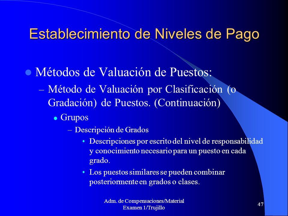 Adm. de Compensaciones/Material Examen 1/Trujillo 47 Establecimiento de Niveles de Pago Métodos de Valuación de Puestos: – Método de Valuación por Cla