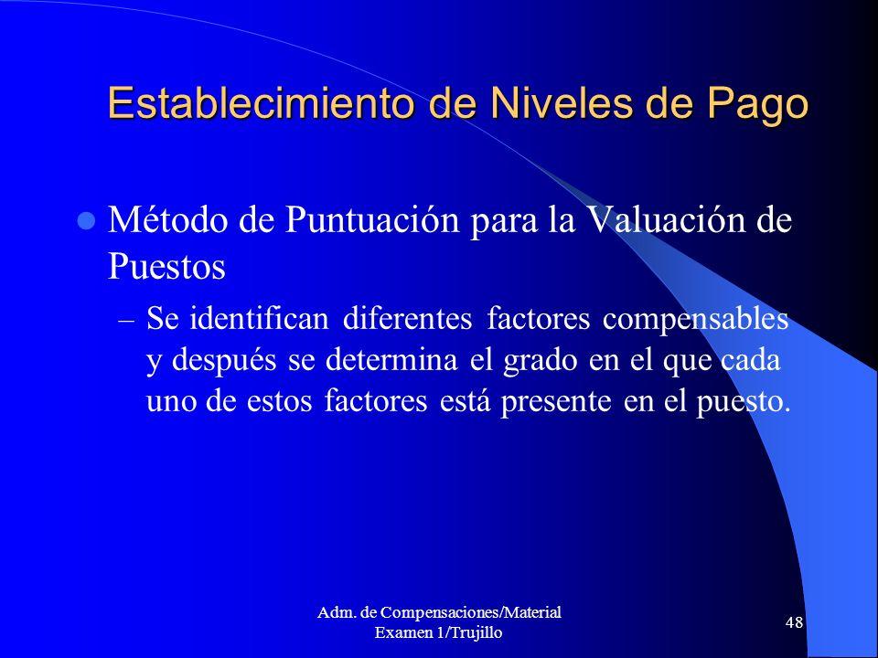 Adm. de Compensaciones/Material Examen 1/Trujillo 48 Establecimiento de Niveles de Pago Método de Puntuación para la Valuación de Puestos – Se identif