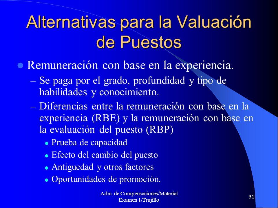 Adm. de Compensaciones/Material Examen 1/Trujillo 51 Alternativas para la Valuación de Puestos Remuneración con base en la experiencia. – Se paga por