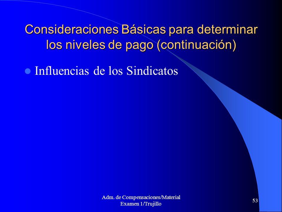 Adm. de Compensaciones/Material Examen 1/Trujillo 53 Consideraciones Básicas para determinar los niveles de pago (continuación) Influencias de los Sin