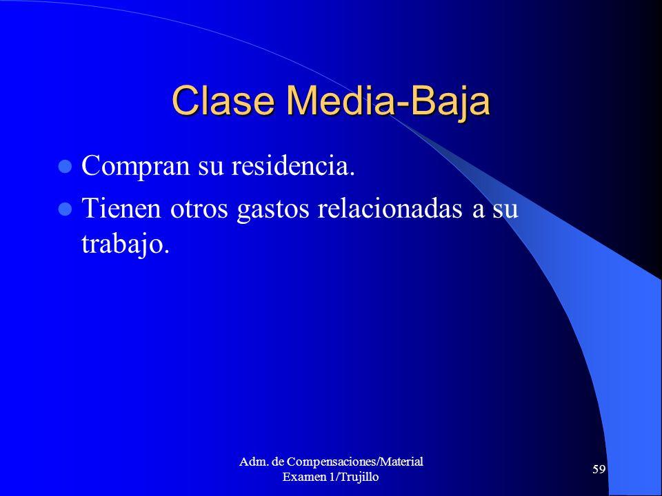 Adm. de Compensaciones/Material Examen 1/Trujillo 59 Clase Media-Baja Compran su residencia. Tienen otros gastos relacionadas a su trabajo.