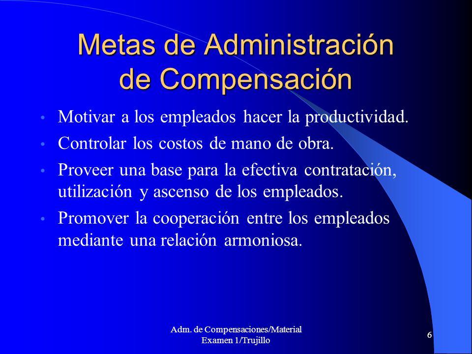 Adm. de Compensaciones/Material Examen 1/Trujillo 6 Metas de Administración de Compensación Motivar a los empleados hacer la productividad. Controlar