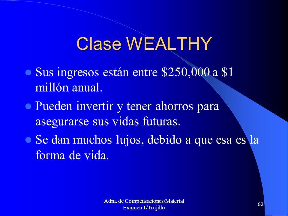 Adm. de Compensaciones/Material Examen 1/Trujillo 62 Clase WEALTHY Sus ingresos están entre $250,000 a $1 millón anual. Pueden invertir y tener ahorro