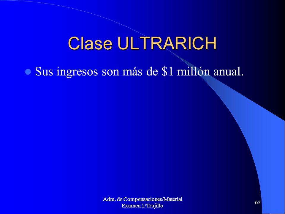Adm. de Compensaciones/Material Examen 1/Trujillo 63 Clase ULTRARICH Sus ingresos son más de $1 millón anual.