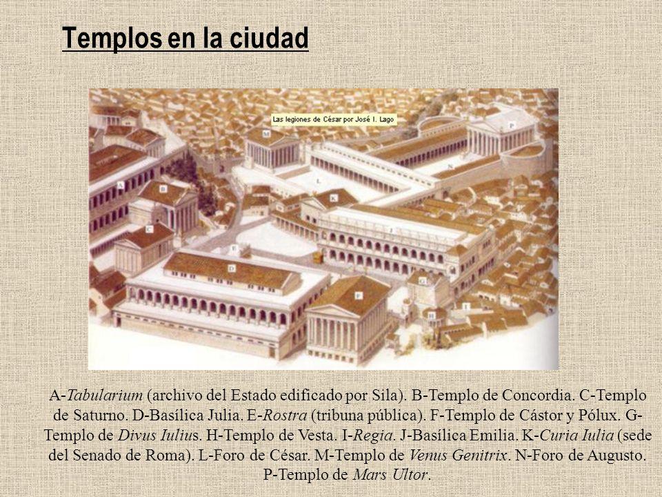 Templos en la ciudad A-Tabularium (archivo del Estado edificado por Sila). B-Templo de Concordia. C-Templo de Saturno. D-Basílica Julia. E-Rostra (tri