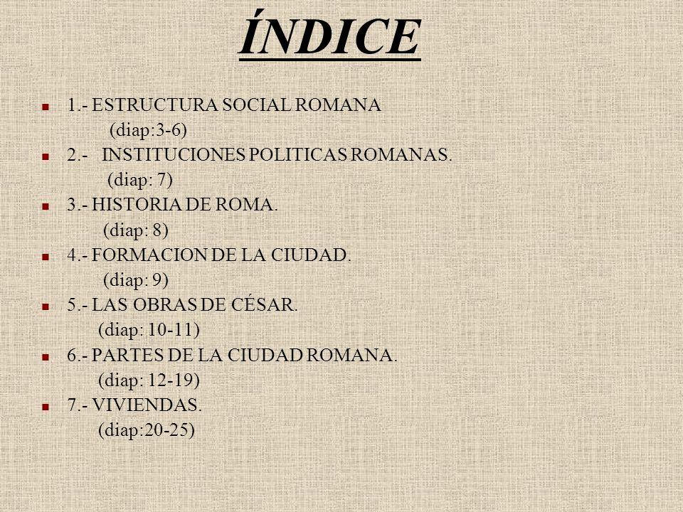 ÍNDICE 1.- ESTRUCTURA SOCIAL ROMANA (diap:3-6) 2.- INSTITUCIONES POLITICAS ROMANAS. (diap: 7) 3.- HISTORIA DE ROMA. (diap: 8) 4.- FORMACION DE LA CIUD
