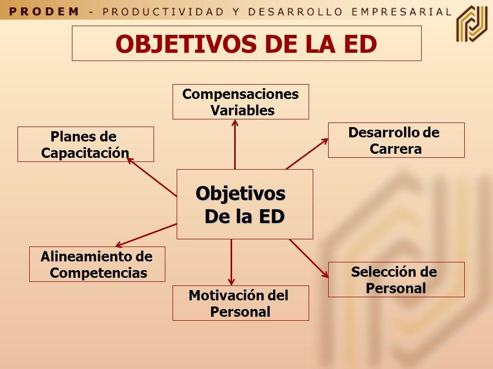 Definición de Objetivos Los Objetivos que se persiguen con la ED están determinados por los procesos de trabajo, las tecnologías imperantes y los plan