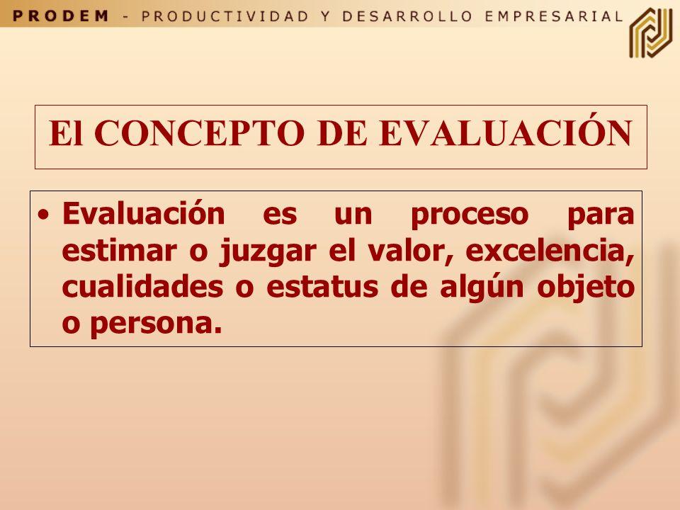 El CONCEPTO DE EVALUACIÓN Evaluación es un proceso para estimar o juzgar el valor, excelencia, cualidades o estatus de algún objeto o persona.