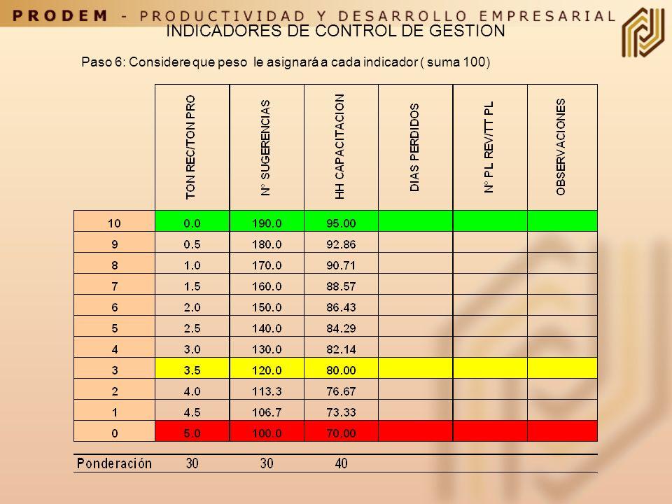 Paso 5: Repita los pasos anteriores con cada uno de los indicadores que utilizara en su CMI INDICADORES DE CONTROL DE GESTION