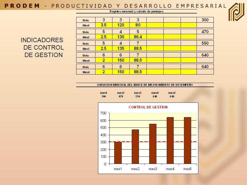 INDICADORES DE CONTROL DE GESTION Paso 7: Calcule el puntaje mensual utilizando valores reales de sus indicadores