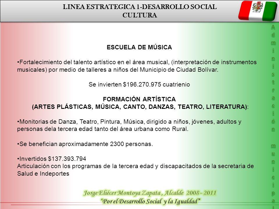 LINEA ESTRATEGICA 1-DESARROLLO SOCIAL CULTURA LINEA ESTRATEGICA 1-DESARROLLO SOCIAL CULTURA ESCUELA DE MÚSICA Fortalecimiento del talento artístico en