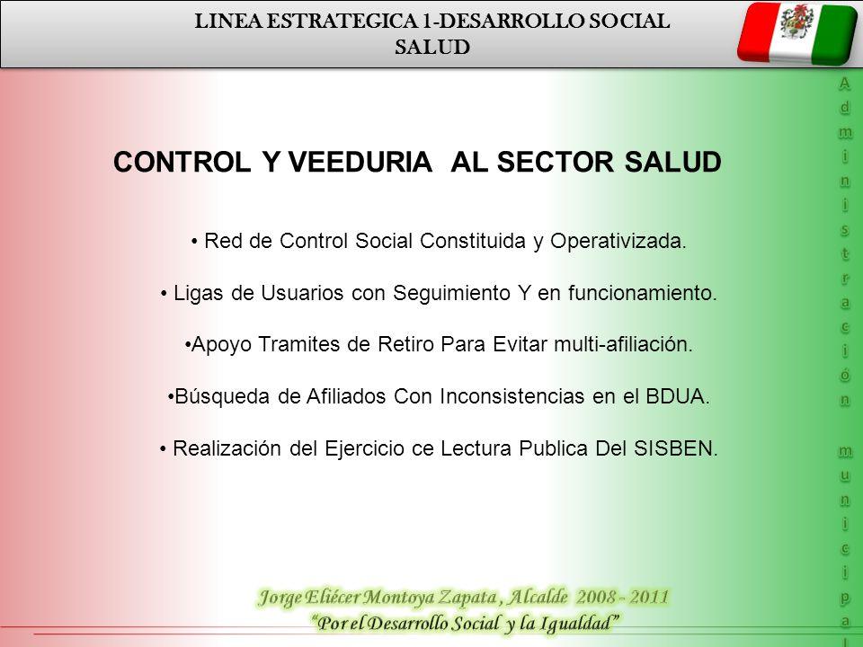 LINEA ESTRATEGICA 1-DESARROLLO SOCIAL SALUD LINEA ESTRATEGICA 1-DESARROLLO SOCIAL SALUD CONTROL Y VEEDURIA AL SECTOR SALUD Red de Control Social Const
