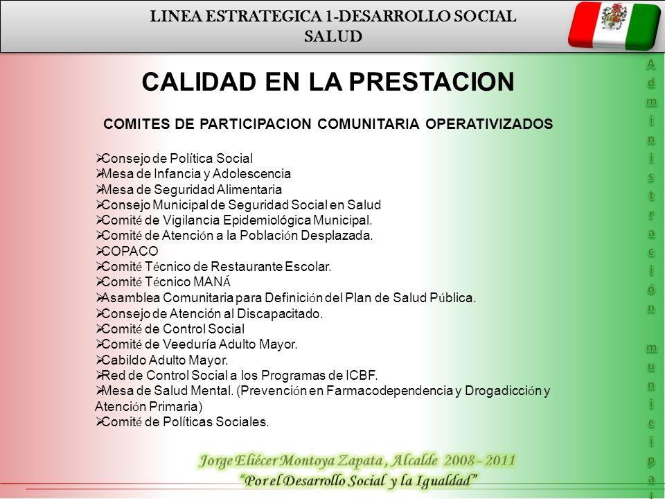 LINEA ESTRATEGICA 1-DESARROLLO SOCIAL SALUD LINEA ESTRATEGICA 1-DESARROLLO SOCIAL SALUD CALIDAD EN LA PRESTACION COMITES DE PARTICIPACION COMUNITARIA