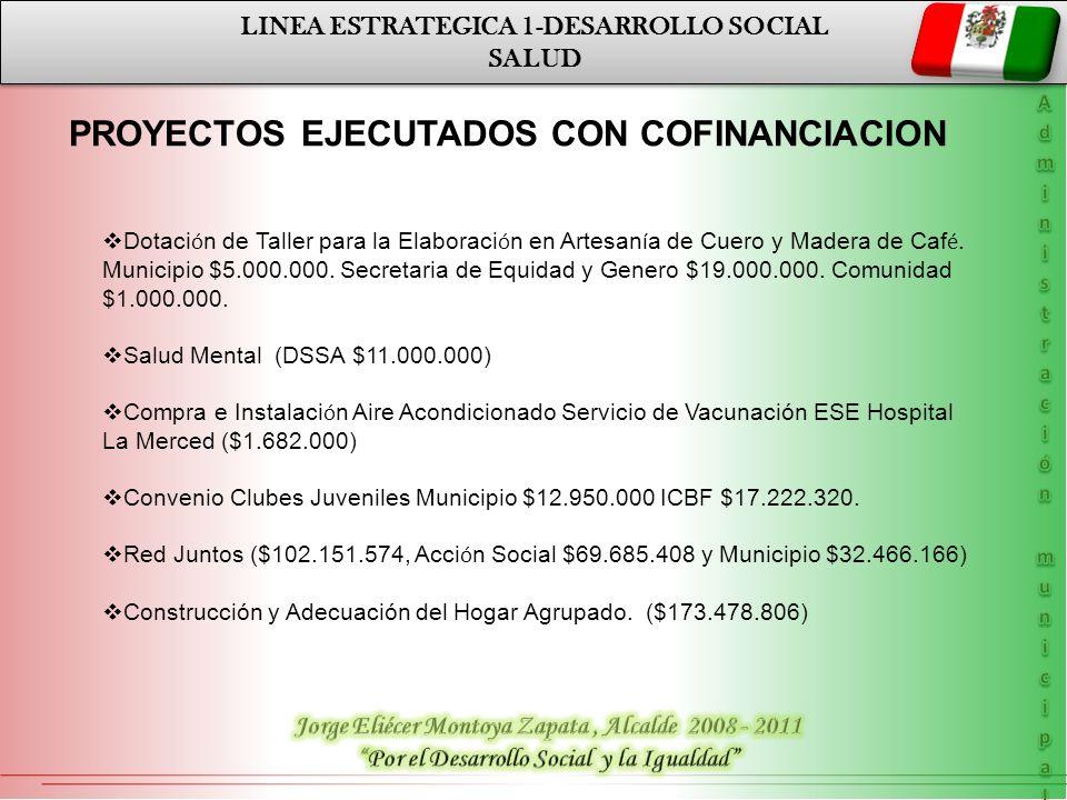 LINEA ESTRATEGICA 1-DESARROLLO SOCIAL SALUD LINEA ESTRATEGICA 1-DESARROLLO SOCIAL SALUD PROYECTOS EJECUTADOS CON COFINANCIACION Dotaci ó n de Taller p