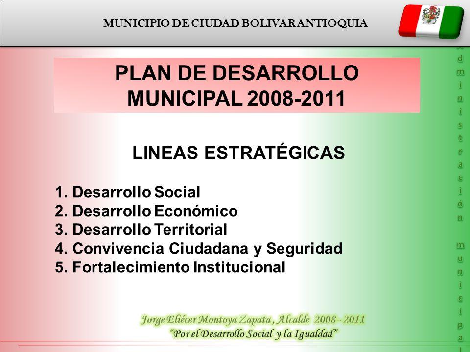MUNICIPIO DE CIUDAD BOLIVAR ANTIOQUIA PLAN DE DESARROLLO MUNICIPAL 2008-2011 LINEAS ESTRATÉGICAS 1.Desarrollo Social 2.Desarrollo Económico 3.Desarrol