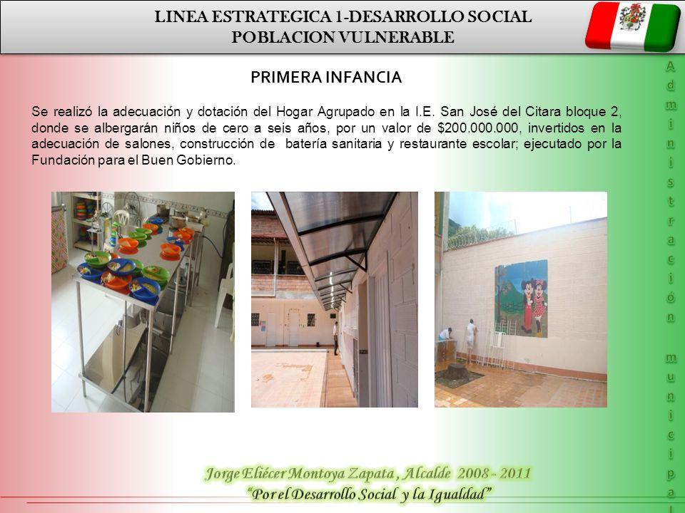 LINEA ESTRATEGICA 1-DESARROLLO SOCIAL POBLACION VULNERABLE LINEA ESTRATEGICA 1-DESARROLLO SOCIAL POBLACION VULNERABLE PRIMERA INFANCIA Se realizó la a