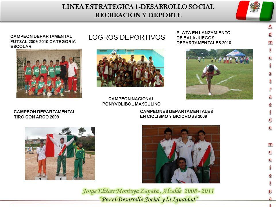LINEA ESTRATEGICA 1-DESARROLLO SOCIAL RECREACION Y DEPORTE LINEA ESTRATEGICA 1-DESARROLLO SOCIAL RECREACION Y DEPORTE LOGROS DEPORTIVOS CAMPEON DEPART