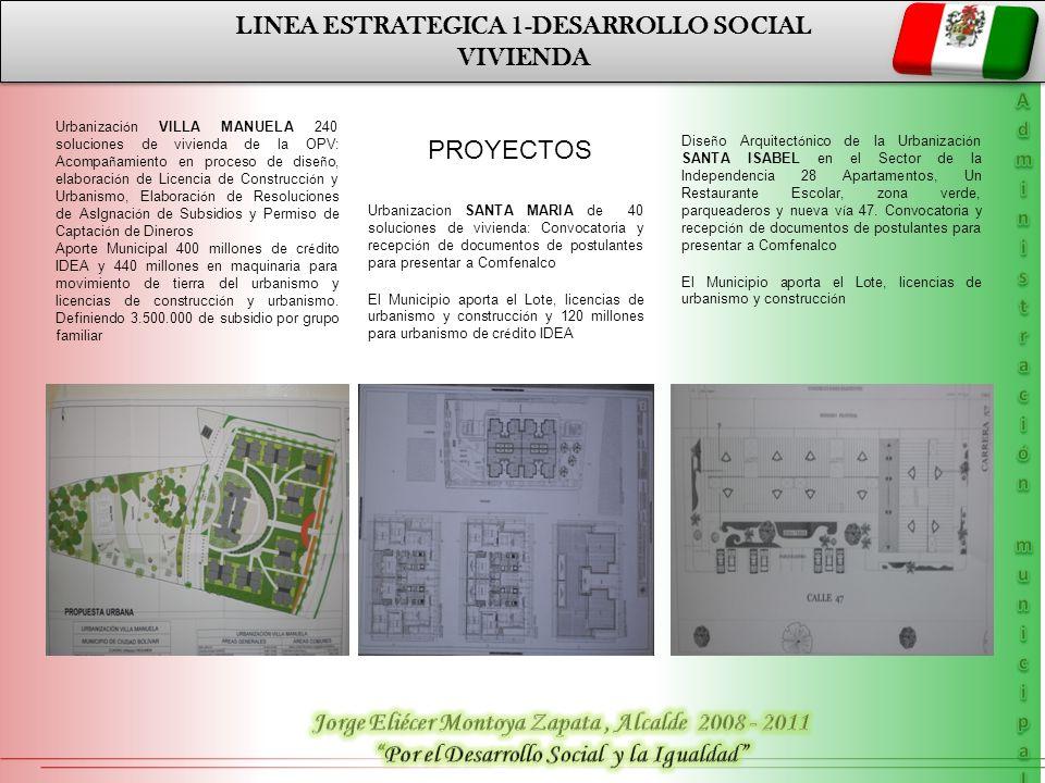 LINEA ESTRATEGICA 1-DESARROLLO SOCIAL VIVIENDA LINEA ESTRATEGICA 1-DESARROLLO SOCIAL VIVIENDA Urbanizaci ó n VILLA MANUELA 240 soluciones de vivienda