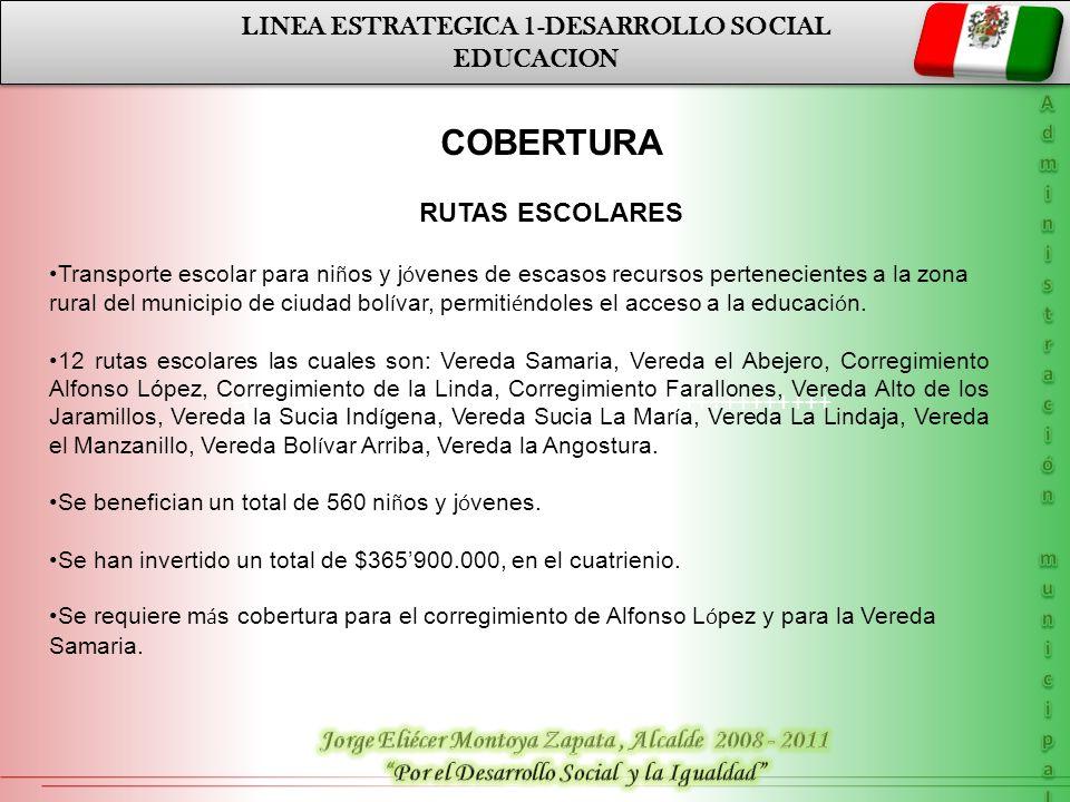 LINEA ESTRATEGICA 1-DESARROLLO SOCIAL SALUD LINEA ESTRATEGICA 1-DESARROLLO SOCIAL SALUD AÑOCOBERTURA 200713.035 20089.300 200910.000 201020.000.