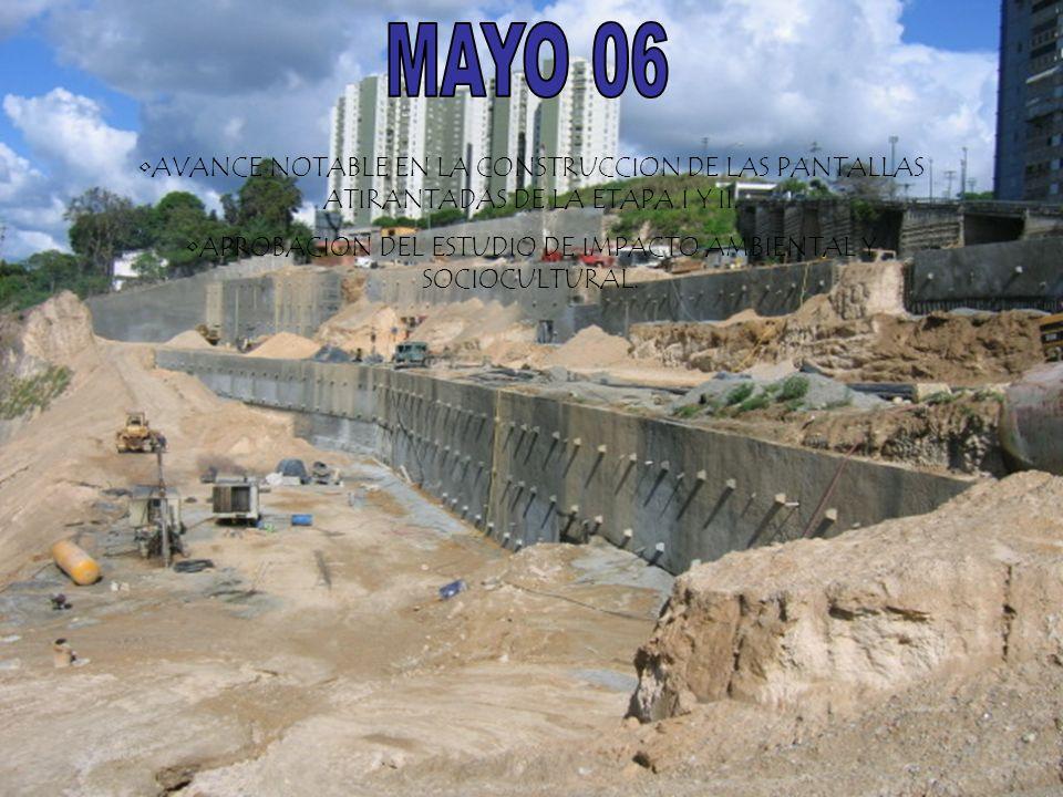 AVANCE NOTABLE EN LA CONSTRUCCION DE LAS PANTALLAS ATIRANTADAS DE LA ETAPA I Y II. APROBACION DEL ESTUDIO DE IMPACTO AMBIENTAL Y SOCIOCULTURAL.