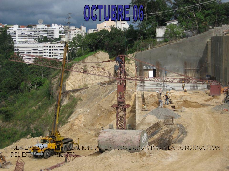 SE REALIZÓ LA INSTALACION DE LA TORRE GRUA PARA LA CONSTRUCCION DEL ESTACIONAMIENTO.