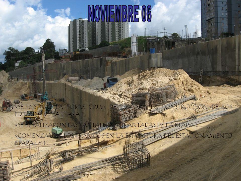 SE INSTALÓ LA TORRE GRUA DE LA PARA LA CONSTRUCCION DE LOS EDIFICIOS DE LA ETAPA I. SE FINALIZARON LAS PANTALLAS ATIRANTADAS DE LA ETAPA I. COMENZARON