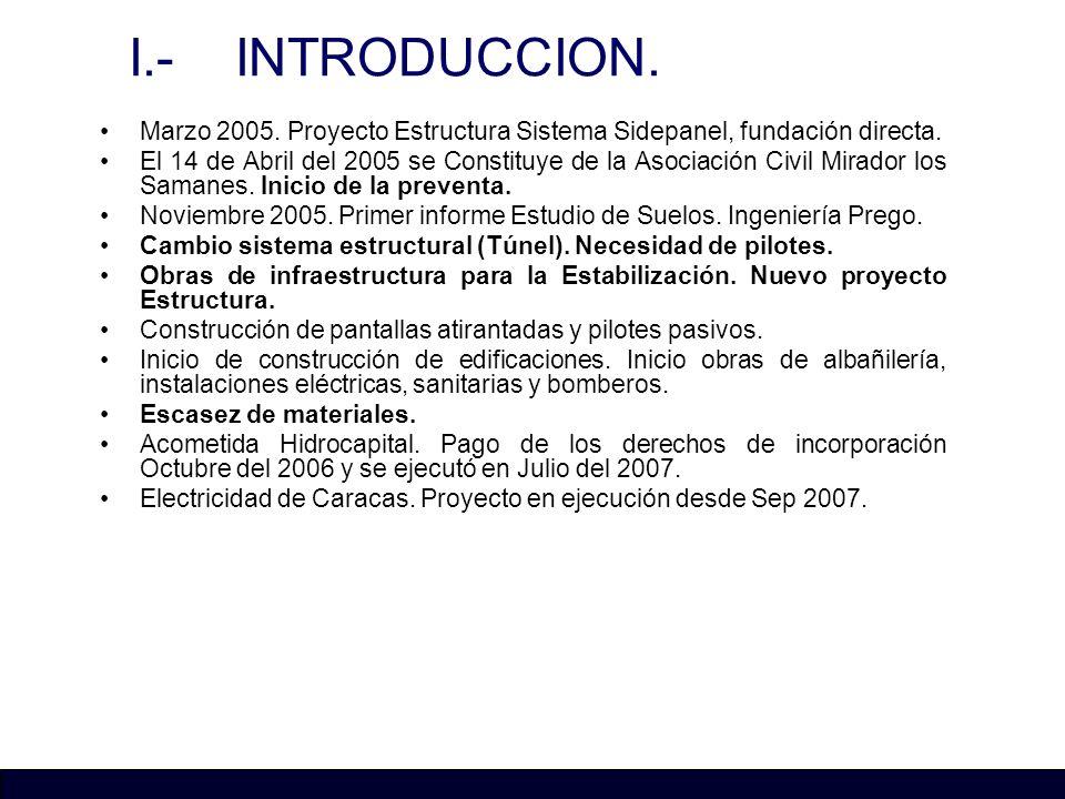 I.- INTRODUCCION. Marzo 2005. Proyecto Estructura Sistema Sidepanel, fundación directa. El 14 de Abril del 2005 se Constituye de la Asociación Civil M