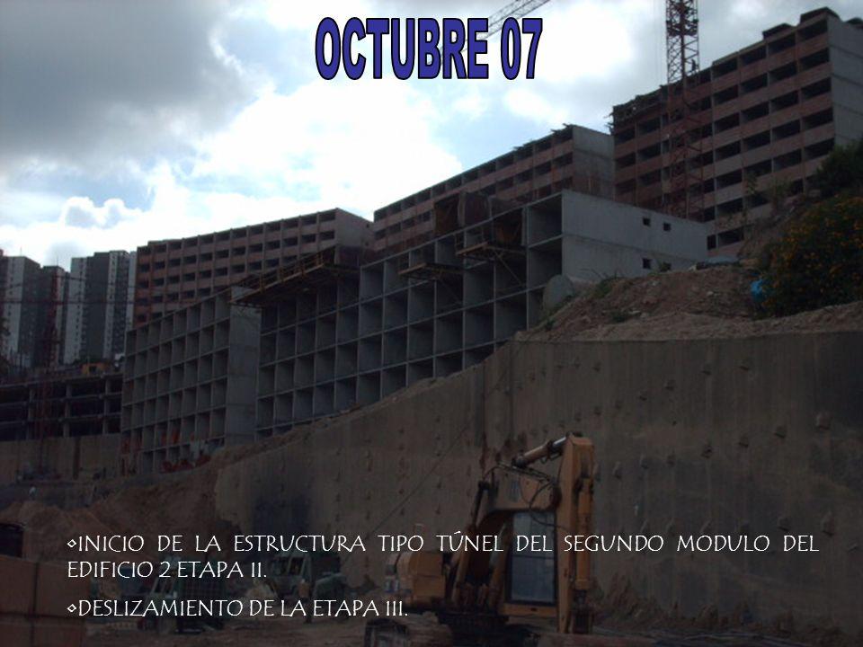 INICIO DE LA ESTRUCTURA TIPO TÚNEL DEL SEGUNDO MODULO DEL EDIFICIO 2 ETAPA II. DESLIZAMIENTO DE LA ETAPA III.