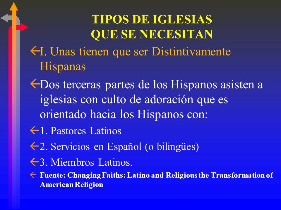 CONGREGAANDO A LOS HISPANOS Se necesita una variedad de tipos de iglesias para alcanzar a todos los segmentos de la Población Hispana
