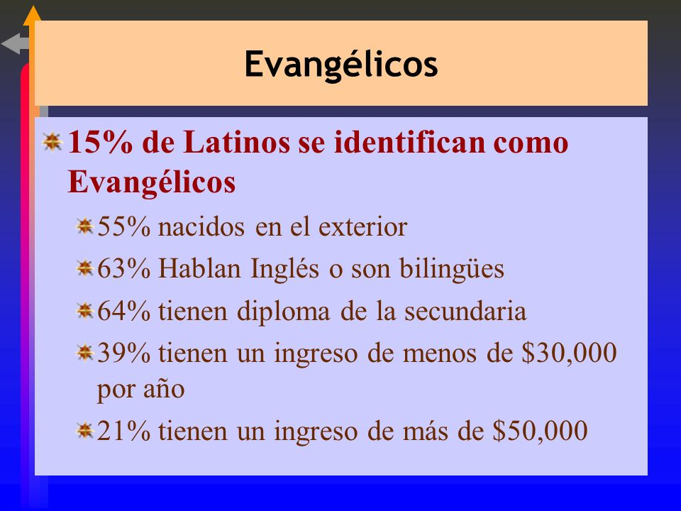 Católicos 68% de los Latinos se identifican como Católicos 68% nacidos en el exterior 55% el Español es su idioma principal 42% no se graduaron de la