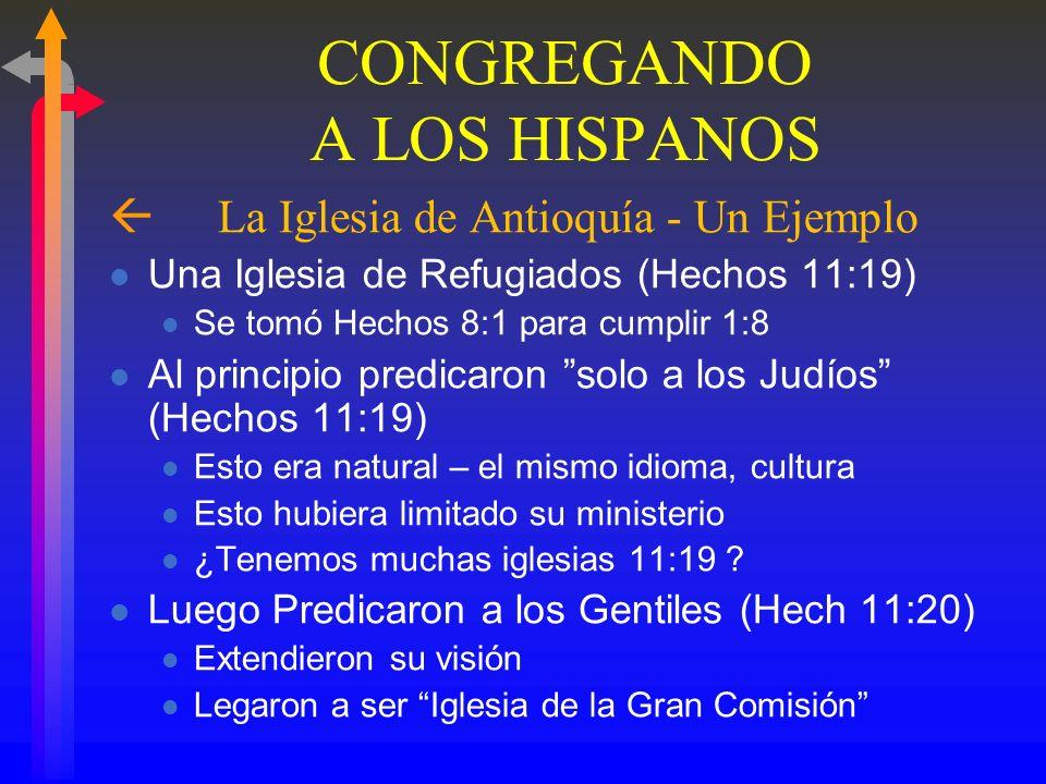 CONGREGANDO A LOS HISPANOS ß I. ¿Dónde debemos comenzar? ß A. Comenzar con las iglesias existentes ß1. Tenemos iglesias establecidas (Anglo, Afro- Ame