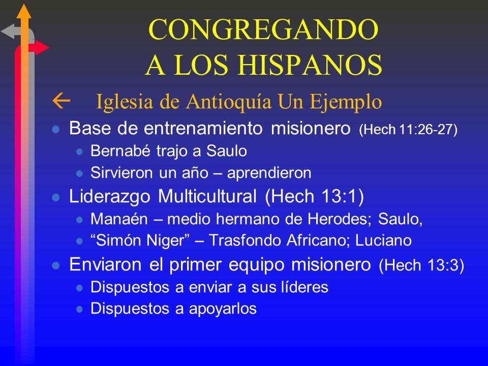 CONGREGANDO A LOS HISPANOS ß La Iglesia de Antioquía - Un Ejemplo Una Iglesia de Refugiados (Hechos 11:19) Se tomó Hechos 8:1 para cumplir 1:8 Al prin