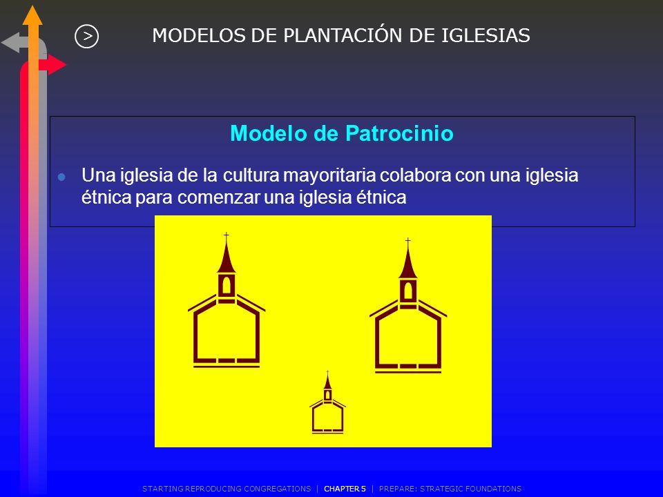 Modelo de Patrocinio l Una iglesia comienza otra fuera de su edificio MODELOS DE PLANTACIÓN DE IGLESIAS > STARTING REPRODUCING CONGREGATIONS | CHAPTER