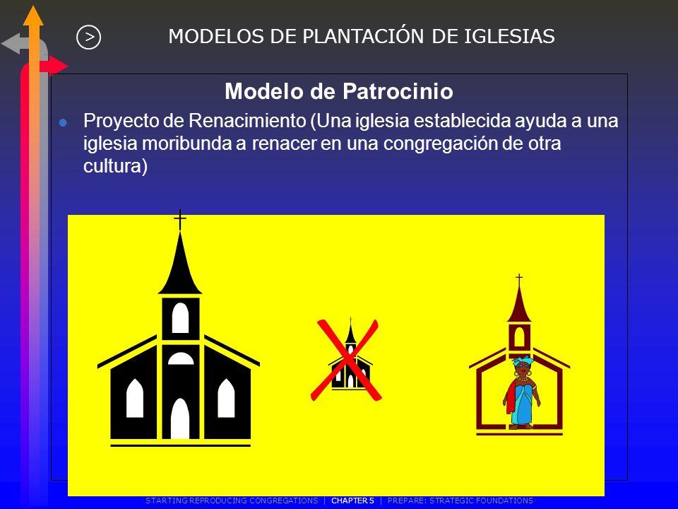 Modelo de Patrocinio Proyecto de restauración (una iglesia establecida ayuda a una iglesia pequeña a crecer) MODELOS DE PLANTACIÓN DE IGLESIAS > START