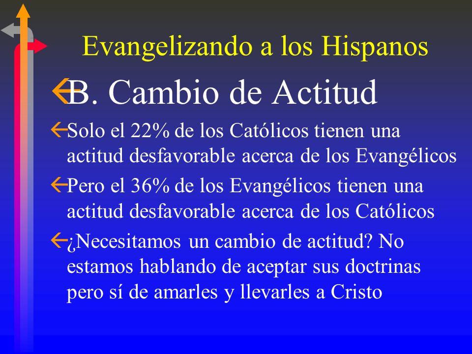 Evangelizando a los Hispanos ß 43% de los Hispanos Evangélicos se convirtieron del Catolicismo. ßLa mayoría (82%) de los Hispanos convertidos indicaro