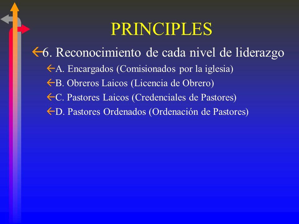 PRINCIPIOS ß5. Utiliza una variedad de obreros ßII. Plantadores de Iglesias ßA. Encargados (ayudan a comenzar iglesias en las casas) ßB. Obreros Laico