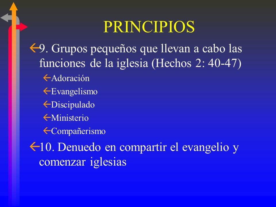 PRINCIPIOS ß7. Entrenamiento continuo para cada nivel de liderazgo ßSe reúnen semanalmente ßAprenden mientras sirven ß8. Flexibilidad: Estrategia Crio