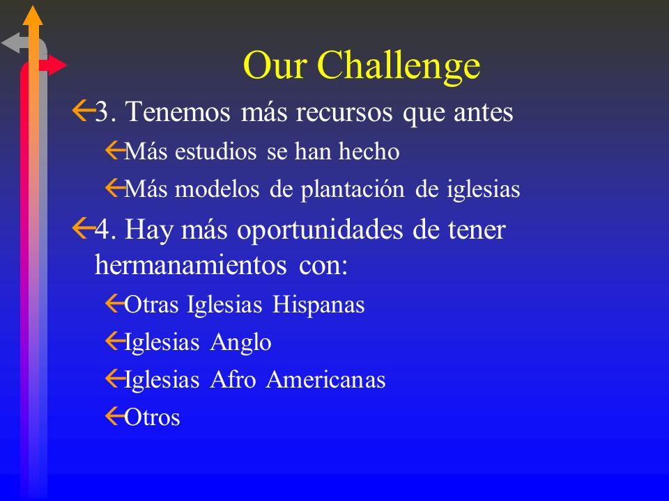 Nuestro Desafío ß1. La población Hispana continúa multiplicándose. Los Estados Unidos tienen la segunda concentración de Hispanos en el mundo. ß2. Los