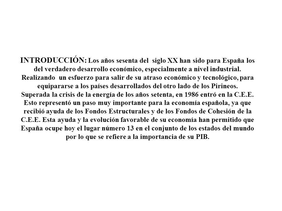 INTRODUCCIÓN: Los años sesenta del siglo XX han sido para España los del verdadero desarrollo económico, especialmente a nivel industrial. Realizando