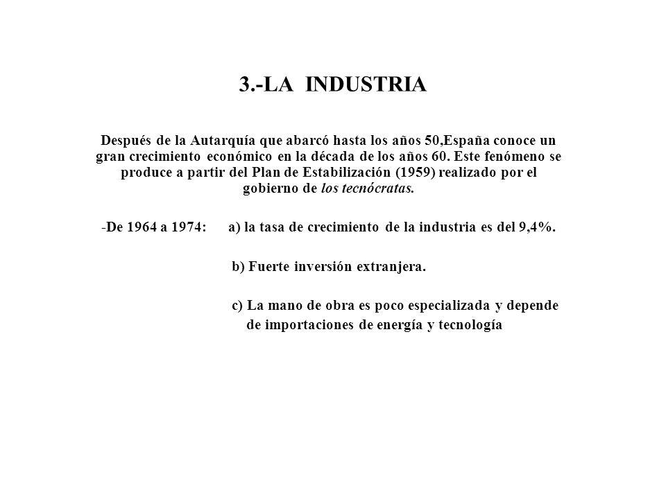 3.-LA INDUSTRIA Después de la Autarquía que abarcó hasta los años 50,España conoce un gran crecimiento económico en la década de los años 60. Este fen